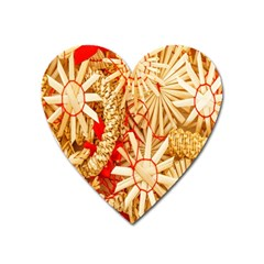 Christmas Straw Xmas Gold Heart Magnet by Nexatart