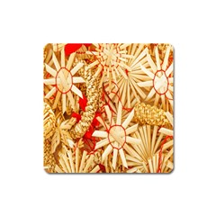 Christmas Straw Xmas Gold Square Magnet by Nexatart
