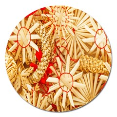 Christmas Straw Xmas Gold Magnet 5  (round)