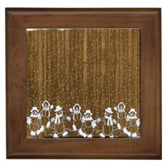 Christmas Snowmen Rustic Snow Framed Tiles