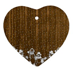 Christmas Snowmen Rustic Snow Heart Ornament (two Sides) by Nexatart