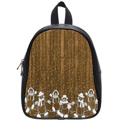 Christmas Snowmen Rustic Snow School Bags (small)  by Nexatart