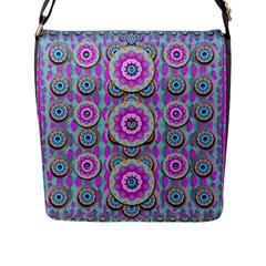 Magic Flowers From  The Paradise Of Lotus Flap Messenger Bag (l)  by pepitasart