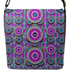 Magic Flowers From  The Paradise Of Lotus Flap Messenger Bag (s) by pepitasart