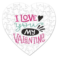 I Love You My Valentine (white) Our Two Hearts Pattern (white) Jigsaw Puzzle (heart) by FashionFling