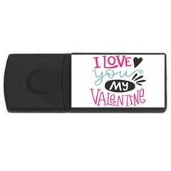 I Love You My Valentine (white) Our Two Hearts Pattern (white) Usb Flash Drive Rectangular (4 Gb) by FashionFling