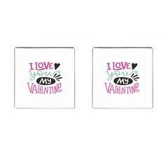 I Love You My Valentine (white) Our Two Hearts Pattern (white) Cufflinks (square) by FashionFling