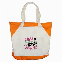 I Love You My Valentine (white) Our Two Hearts Pattern (white) Accent Tote Bag by FashionFling