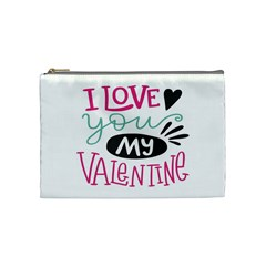 I Love You My Valentine (white) Our Two Hearts Pattern (white) Cosmetic Bag (medium)  by FashionFling
