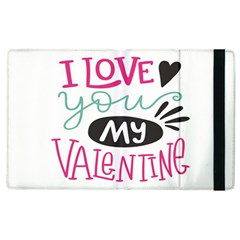I Love You My Valentine (white) Our Two Hearts Pattern (white) Apple Ipad 2 Flip Case by FashionFling