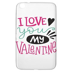 I Love You My Valentine (white) Our Two Hearts Pattern (white) Samsung Galaxy Tab 3 (8 ) T3100 Hardshell Case  by FashionFling