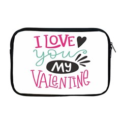 I Love You My Valentine (white) Our Two Hearts Pattern (white) Apple Macbook Pro 17  Zipper Case