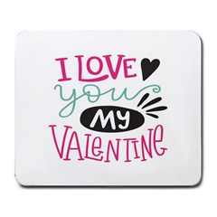 I Love You My Valentine (white) Our Two Hearts Pattern (white) Large Mousepads
