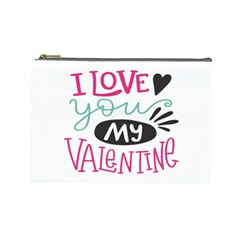 I Love You My Valentine (white) Our Two Hearts Pattern (white) Cosmetic Bag (large)  by FashionFling