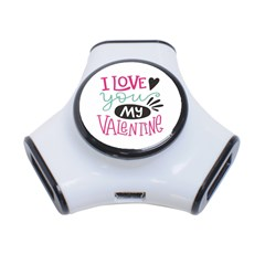 I Love You My Valentine (white) Our Two Hearts Pattern (white) 3 Port Usb Hub by FashionFling
