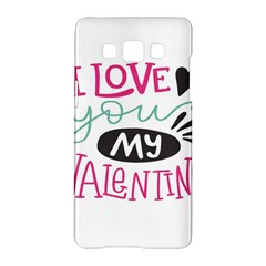 I Love You My Valentine (white) Our Two Hearts Pattern (white) Samsung Galaxy A5 Hardshell Case  by FashionFling