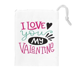 I Love You My Valentine (white) Our Two Hearts Pattern (white) Drawstring Pouches (extra Large) by FashionFling