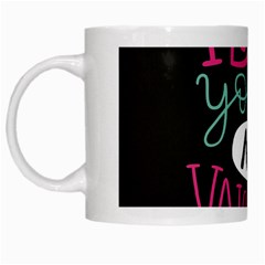 I Love You My Valentine / Our Two Hearts Pattern (black) White Mugs by FashionFling