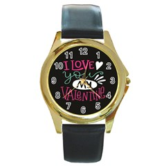 I Love You My Valentine / Our Two Hearts Pattern (black) Round Gold Metal Watch by FashionFling