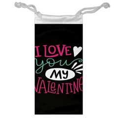 I Love You My Valentine / Our Two Hearts Pattern (black) Jewelry Bag by FashionFling