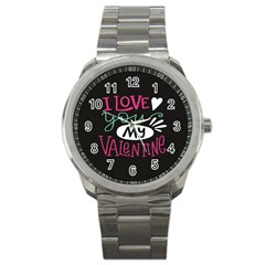 I Love You My Valentine / Our Two Hearts Pattern (black) Sport Metal Watch by FashionFling