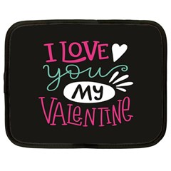 I Love You My Valentine / Our Two Hearts Pattern (black) Netbook Case (large) by FashionFling