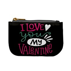 I Love You My Valentine / Our Two Hearts Pattern (black) Mini Coin Purses