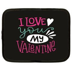 I Love You My Valentine / Our Two Hearts Pattern (black) Netbook Case (xl)  by FashionFling
