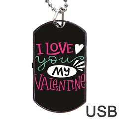 I Love You My Valentine / Our Two Hearts Pattern (black) Dog Tag Usb Flash (two Sides) by FashionFling
