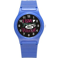I Love You My Valentine / Our Two Hearts Pattern (black) Round Plastic Sport Watch (s) by FashionFling