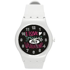 I Love You My Valentine / Our Two Hearts Pattern (black) Round Plastic Sport Watch (m) by FashionFling