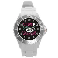 I Love You My Valentine / Our Two Hearts Pattern (black) Round Plastic Sport Watch (l) by FashionFling