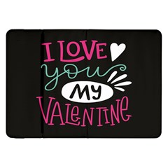 I Love You My Valentine / Our Two Hearts Pattern (black) Samsung Galaxy Tab 8 9  P7300 Flip Case by FashionFling