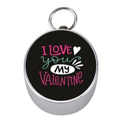 I Love You My Valentine / Our Two Hearts Pattern (black) Mini Silver Compasses by FashionFling