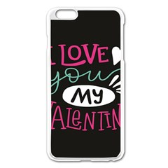I Love You My Valentine / Our Two Hearts Pattern (black) Apple Iphone 6 Plus/6s Plus Enamel White Case by FashionFling
