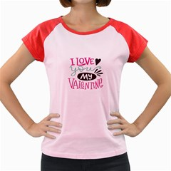 I Love You My Valentine / Our Two Hearts Pattern (white) Women s Cap Sleeve T-shirt by FashionFling