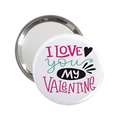 I Love You My Valentine / Our Two Hearts Pattern (white) 2 25  Handbag Mirrors by FashionFling