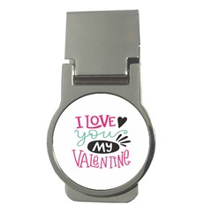 I Love You My Valentine / Our Two Hearts Pattern (white) Money Clips (round)  by FashionFling