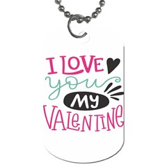 I Love You My Valentine / Our Two Hearts Pattern (white) Dog Tag (two Sides) by FashionFling