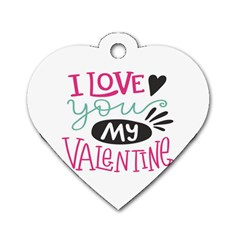 I Love You My Valentine / Our Two Hearts Pattern (white) Dog Tag Heart (one Side) by FashionFling