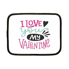 I Love You My Valentine / Our Two Hearts Pattern (white) Netbook Case (small)  by FashionFling