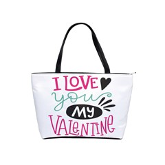 I Love You My Valentine / Our Two Hearts Pattern (white) Shoulder Handbags by FashionFling
