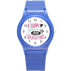 I Love You My Valentine / Our Two Hearts Pattern (white) Round Plastic Sport Watch (s) by FashionFling