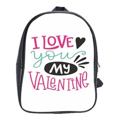 I Love You My Valentine / Our Two Hearts Pattern (white) School Bags (xl)  by FashionFling