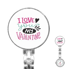 I Love You My Valentine / Our Two Hearts Pattern (white) Stainless Steel Nurses Watch by FashionFling