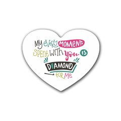 My Every Moment Spent With You Is Diamond To Me / Diamonds Hearts Lips Pattern (white) Rubber Coaster (heart)