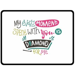 My Every Moment Spent With You Is Diamond To Me / Diamonds Hearts Lips Pattern (white) Fleece Blanket (large)