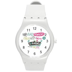 My Every Moment Spent With You Is Diamond To Me / Diamonds Hearts Lips Pattern (white) Round Plastic Sport Watch (m) by FashionFling