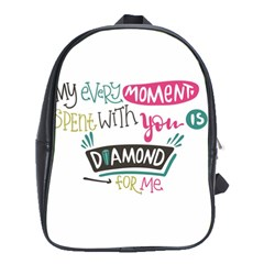 My Every Moment Spent With You Is Diamond To Me / Diamonds Hearts Lips Pattern (white) School Bags (xl)  by FashionFling