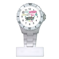 My Every Moment Spent With You Is Diamond To Me / Diamonds Hearts Lips Pattern (white) Plastic Nurses Watch by FashionFling